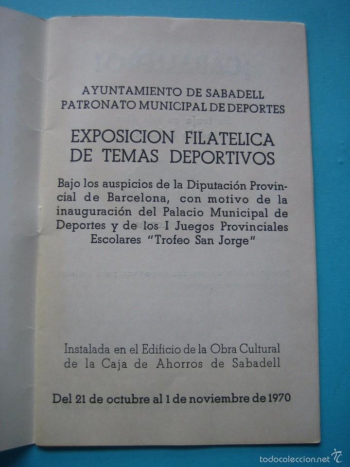 Sellos: EXPOSICION FILATELICA DE TEMAS DEPORTIVOS - SABADELL (BARCELONA) 1970 - 5 MATASELLOS ESPECIALES VER - Foto 3 - 58215246
