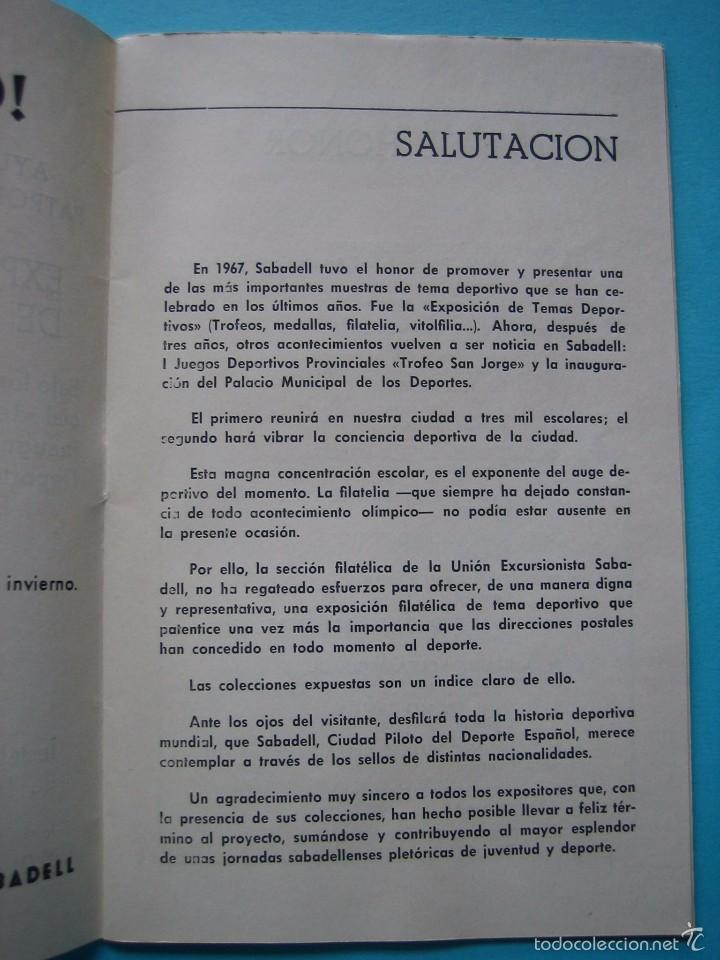 Sellos: EXPOSICION FILATELICA DE TEMAS DEPORTIVOS - SABADELL (BARCELONA) 1970 - 5 MATASELLOS ESPECIALES VER - Foto 4 - 58215246