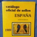 Sellos: CATÁLOGO OFICIAL DE SELLOS ESPAÑA ANDORRA - 1989 - FILATELIA - CENTENARIO DE LA CREACIÓN DE CORREOS. Lote 58650096