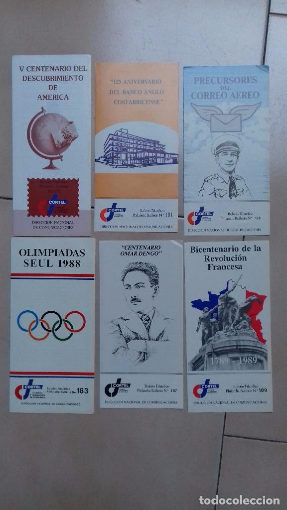 6 HOJAS INFORMATIVAS DE SELLOS COSTA RICA CORTEL (Filatelia - Sellos - Catálogos y Libros)