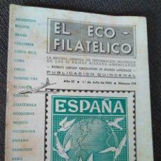 Sellos: REVISTA CATÁLOGO FILATELIA EL ECO FILATELICO JULIO 1953 NÚMERO 178. Lote 94879963