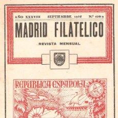 Sellos: REVISTA MADRID FILATÉLICO Nº 438/9. SEPTIEMBRE 1935. . Lote 96981227