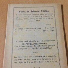 Sellos: CATALOGO SUBASTA PUBLICA SELLOS BARCELONA MONGE CLAVERAS 1940. Lote 103012423