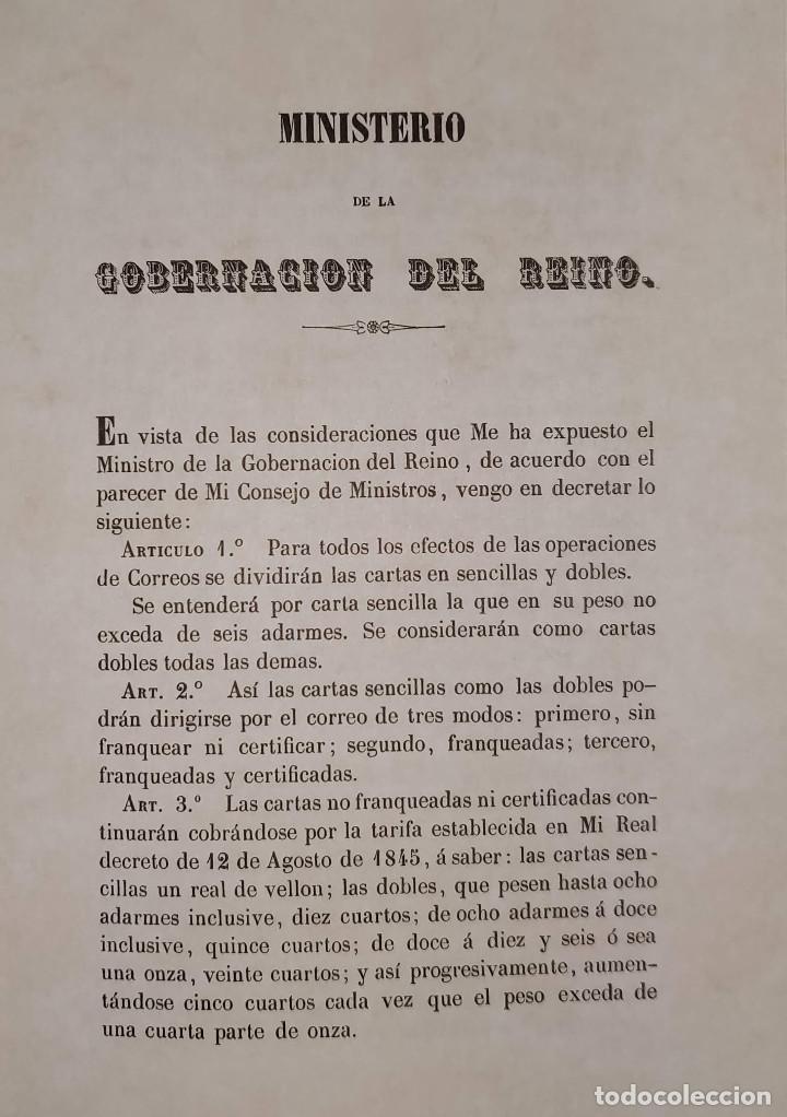 Sellos: Real decreto sobre franqueo y certificado de la correspondencia de 24 de noviembre de 1949. Facsímil - Foto 3 - 132906902