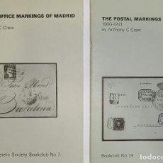 Sellos: 2 LIBROS DE LA SPANISH PHILATELIC SOCIETY BOOKCLUB Nº7 Y Nº13. MARKINGS OF MADRID. RAROS. Lote 132907398