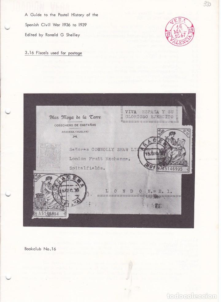 A GUIDE TO THE POSTAL HISTORY OF THE SPANISH CIVIL WAR FASCICULO 3.16 FISCALS USED FOR POSTAGE 12 PÁ (Filatelia - Sellos - Catálogos y Libros)