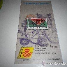Sellos: FOLLETO EXPLICATIVO JUEGOS PARALÍMPICOS 1992. Lote 140116558