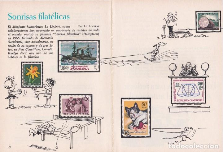 PUBLICIDAD 1972. SONRISAS FILATELICAS. POR EL DIBUJANTE HUMORISTICO LO LINKERT (2 HOJAS) (Filatelia - Sellos - Catálogos y Libros)