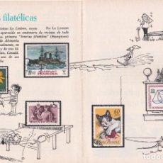 Sellos: PUBLICIDAD 1972. SONRISAS FILATELICAS. POR EL DIBUJANTE HUMORISTICO LO LINKERT (2 HOJAS). Lote 140530822