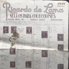 Francobolli: CATÁLOGO SELLOS RICARDO LAMA. BARCELONA. 1939. Lote 141127070
