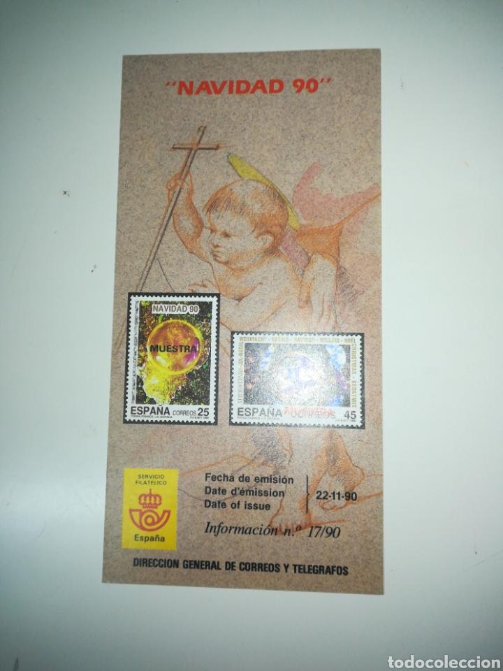 FOLLETO DE SELLOS CORREOS EMISION NAVIDAD 1990 (Filatelia - Sellos - Catálogos y Libros)
