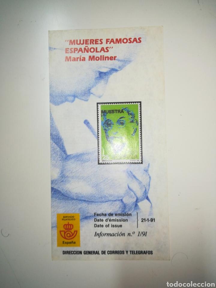FOLLETO SELLOS CORREOS EMISION MUJERES FAMOSAS MARIA MOLINER (Filatelia - Sellos - Catálogos y Libros)