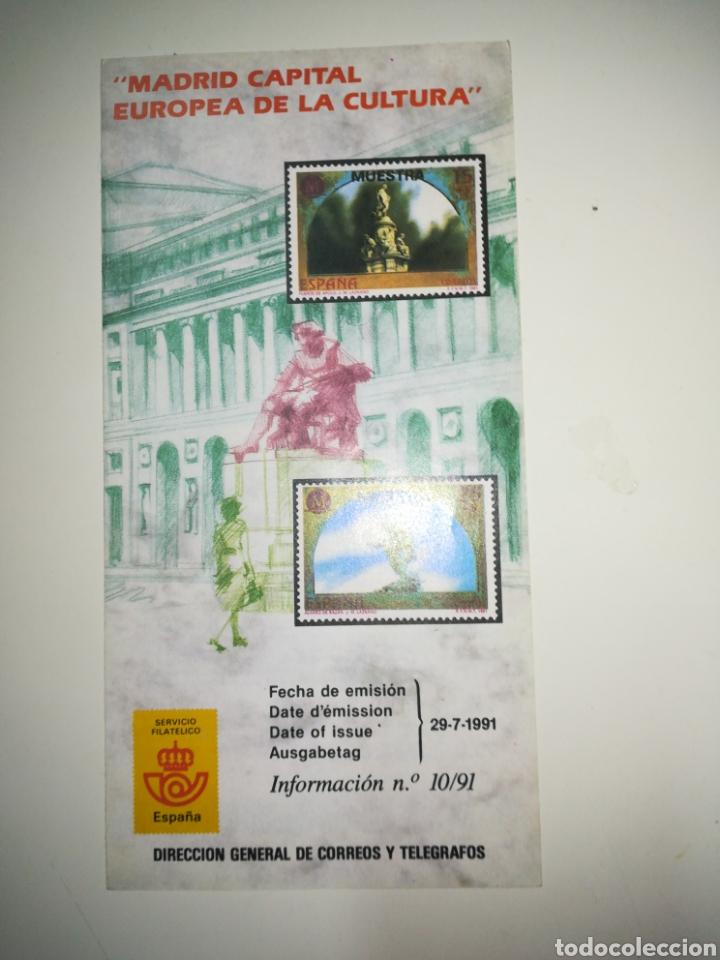 FOLLETO CORREOS SELLOS EMISIÓN MADRID CAPITAL EUROPEA CULTURA 1991 (Filatelia - Sellos - Catálogos y Libros)