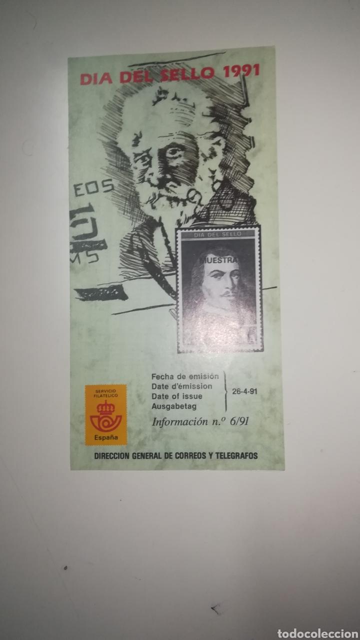 FOLLETO CORREOS SELLOS EMISIÓN DÍA DEL SELLO 1991 (Filatelia - Sellos - Catálogos y Libros)