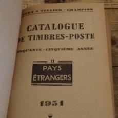Sellos: ANTIGUO CATALOGO MUNDIAL YVERT TELLIER, 1951, TOMO II, RESTO DEL MUNDO,1694 PAGINAS. Lote 151057382
