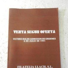 Sellos: FILATELIA LLACH VENTA DE SELLOS JULIO 1991 BARCELONA. . Lote 152957342