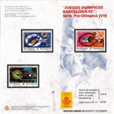 Sellos: 1991 - BOLETIN FILATELICO - JUEGOS OLIMPICOS BARCELONA'92 - SERIE PREOLIMPICA VII - Nº 14/91. Lote 153439218