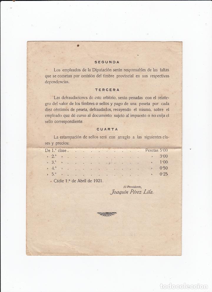 Sellos: Exma.Diputación provincial d Cádiz.Bases para la realización del arbitrio del timbre provincial.1921 - Foto 3 - 154307170