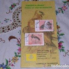 Sellos: FOLLETO EXPLICATIVO Nº 19/93 AMERICA UPAEP FAUNA EN VIAS DE EXTINCIÓN. Lote 156565610