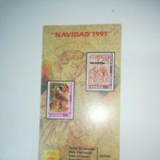 Sellos: FOLLETO SELLOS CORREOS EMISIÓN NAVIDAD 1991. Lote 156692873