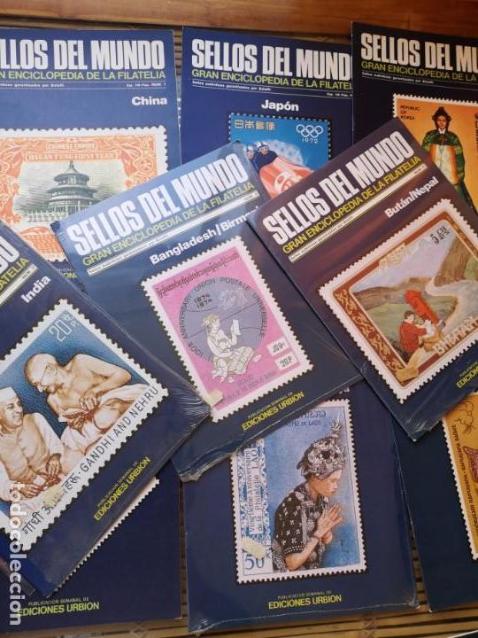 9 FASCICULOS (DE SELLOS DEL MUNDO )EDICIONES URBION ,AÑOS 80 (Filatelia - Sellos - Catálogos y Libros)