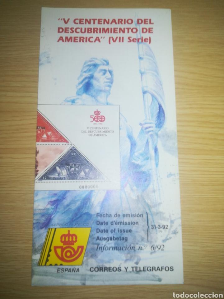 FOLLETO CORREOS SELLOS EMISIÓN V CENTENARIO DESCUBRÍMIENTO DE AMÉRICA VII SERIE 31-3-1992 (Filatelia - Sellos - Catálogos y Libros)