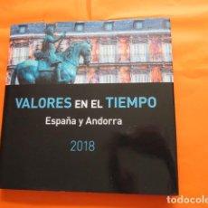 Sellos: LIBRO SIN SELLOS VALORES DEL TIEMPO ESPAÑA ANDORRA 2018 CON PORTASELLOS PARA COLOCAR EL AÑO COMPLETO. Lote 158667282