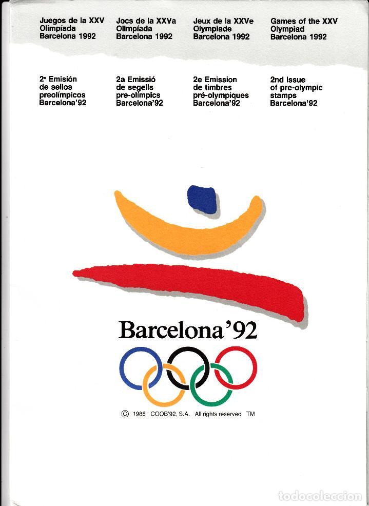 BARCELONA 92 CARPETA DE LA 2. EMISIÓN DE LA SERIE PREOLIMPICA -CON LAS 4 REPROD.SELLOS -NUMERADA (Filatelia - Sellos - Catálogos y Libros)