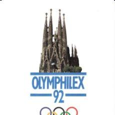 Sellos: BARCELONA 92- LAMINA OFICIAL - OLYMPHILEX - --NUMERADA--. Lote 165594026