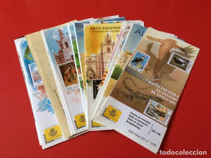 AÑO 1999---- 30 FOLLETOS INFORMATIVOS SERVICIO FILATELICO CORREOS (Filatelia - Sellos - Catálogos y Libros)