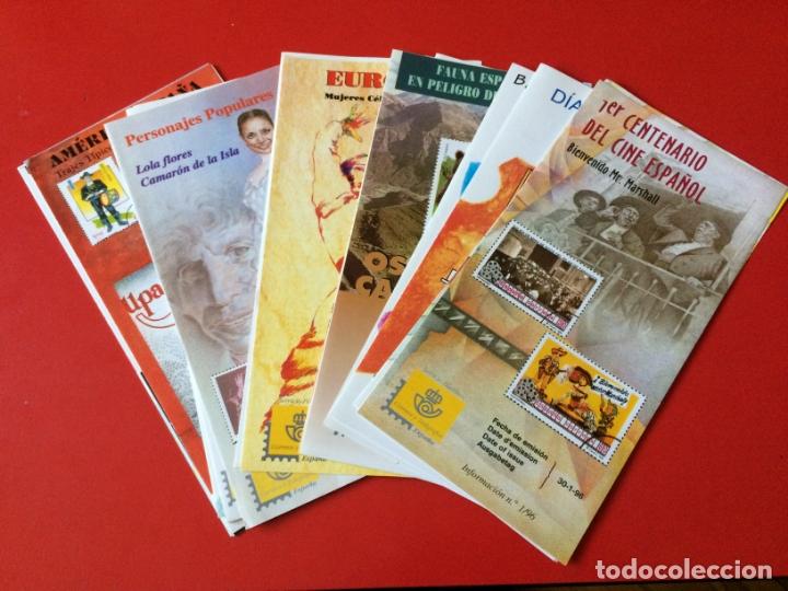 AÑO 1996---- 22 FOLLETOS INFORMATIVOS SERVICIO FILATELICO CORREOS (Filatelia - Sellos - Catálogos y Libros)