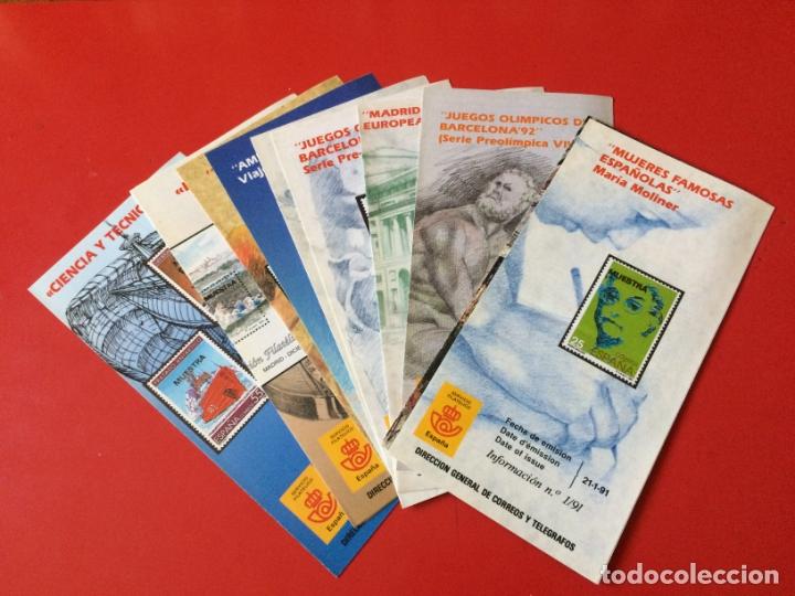 AÑO 1991---- 11 FOLLETOS INFORMATIVOS SERVICIO FILATELICO CORREOS (Filatelia - Sellos - Catálogos y Libros)