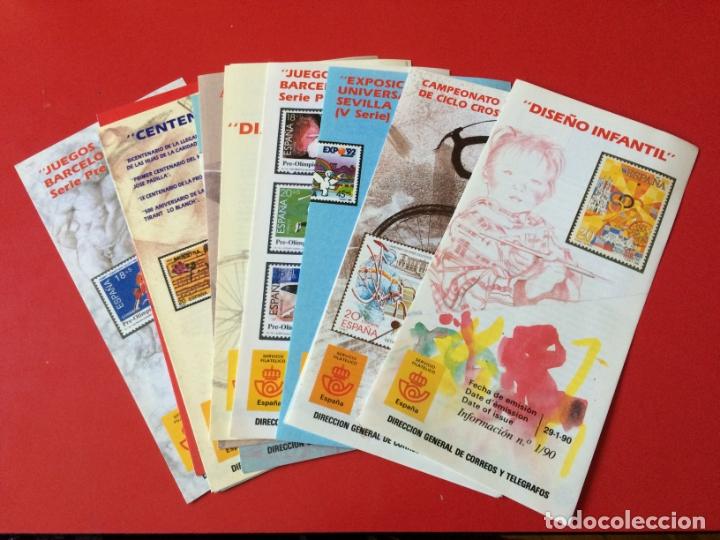 AÑO 1990---- 14 FOLLETOS INFORMATIVOS SERVICIO FILATELICO CORREOS (Filatelia - Sellos - Catálogos y Libros)