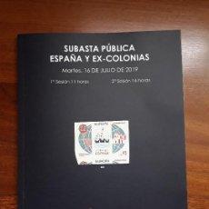 Sellos: CATALOGO SUBASTA SOLER Y LLACH FILATELICA DE SELLOS ESPAÑA Y EX-COLONIAS.JULIO 2019.. Lote 169579248