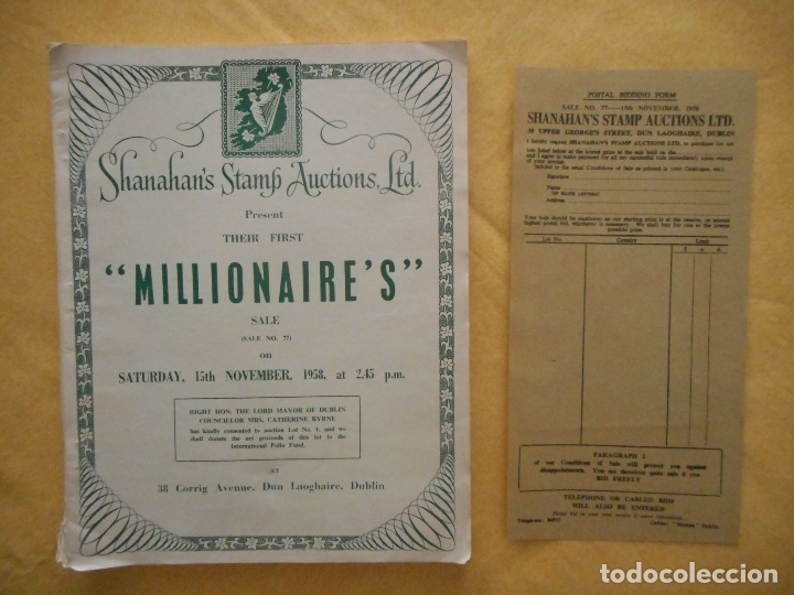 Sellos: Millionaire's, Revista irlandesa de subastas de sellos de 1958. Incluye hoja de pedidos. Muy difícil - Foto 3 - 44645701