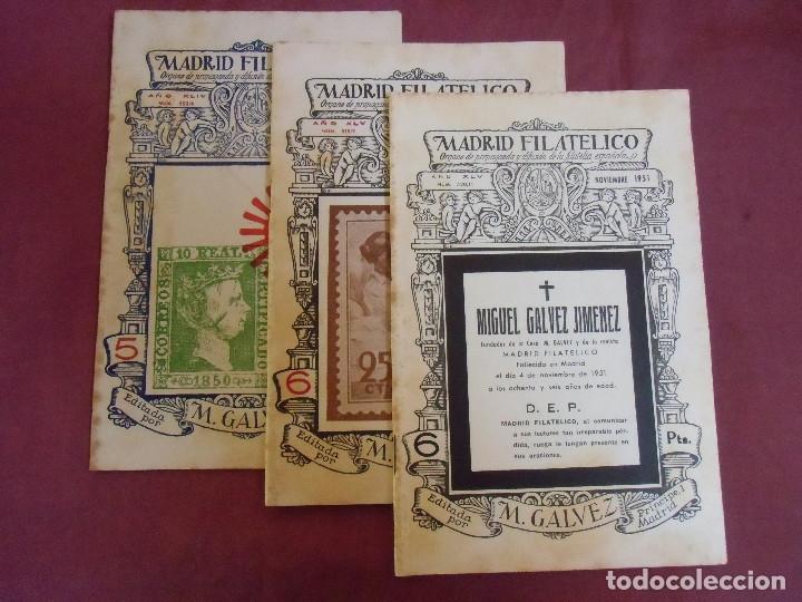 MADRID.FILATELICO.REVISTA DE FILATELIA.1950-1951.NUMEROS:503-518-520.MUERTE DE MIGUEL-GALVEZ-JIMENEZ (Filatelia - Sellos - Catálogos y Libros)