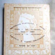 Sellos: BIBLIOGRAFÍA FILATÉLICA Y POSTAL. ESPAÑA Y SUS EXCOLONIAS. 1500-1980. NATHAN AND GAHL. Lote 179142017