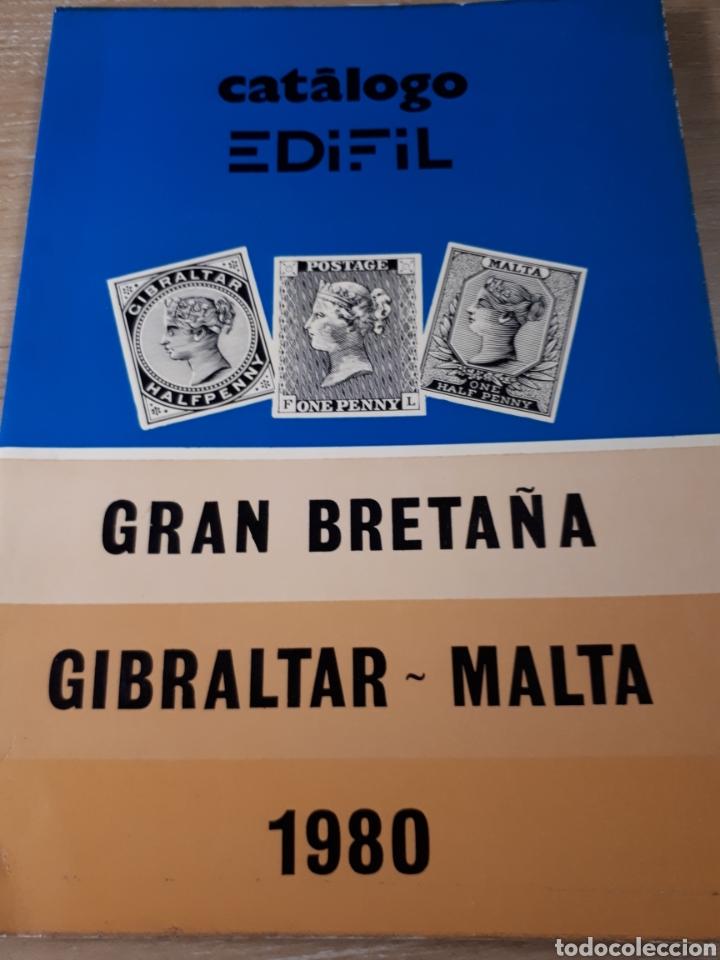 CATALOGO EDIFIL GRAN BRETAÑA GIBRALTAR MALTA AÑO 1980 15X21X1 CM. 146 PAGINAS. (Filatelia - Sellos - Catálogos y Libros)