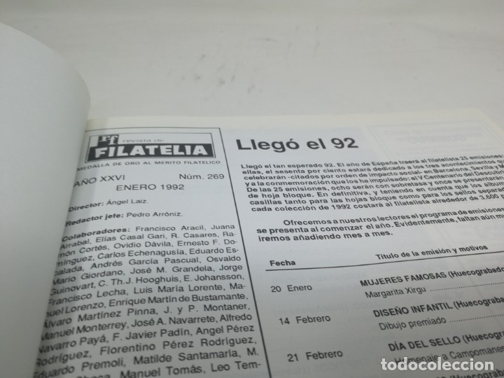 Sellos: Revista filatelia. Edifil. Año 1992. Encuadernado. Laminas - Foto 2 - 180187880