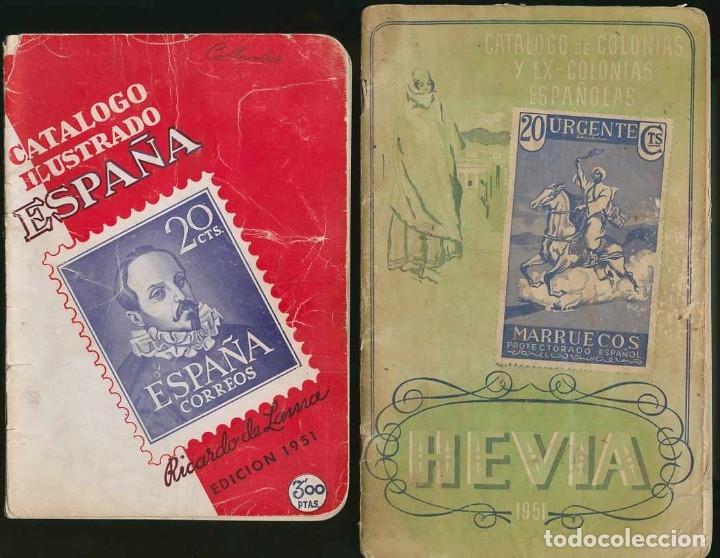 ESPAÑA. CONJUNTO DE CATÁLOGOS Y HOJAS RECUERDO. (Filatelia - Sellos - Catálogos y Libros)