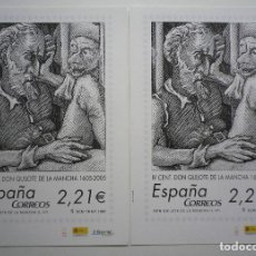 Sellos: LOTE DOS LÁMINAS CONMEMORATIVA IV CENTENARIO DON QUIJOTE, EN CORREOS. Lote 230316560