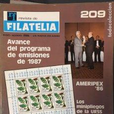 Francobolli: REVISTA DE FILATELIA - 209 - AGOSTO 1986. Lote 194188633