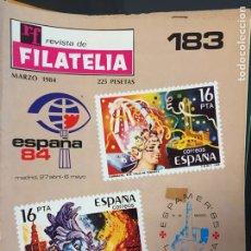 Sellos: REVISTA DE FILATELIA - 183 - MARZO 1984. Lote 194199535