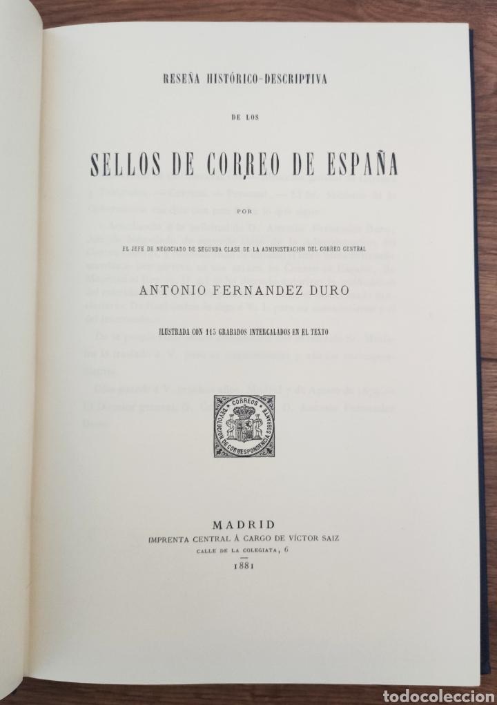 Sellos: Reseña Histórico - Descriptiva de los Sellos de Correo de España Antonio Fernández Duro - Foto 2 - 95417094