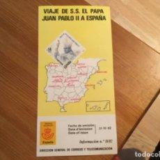 """Sellos: DIPTICO DEL SELLO """"VIAJE DE S.S. EL PAPA JUAN PABLO II A ESPAÑA"""". Lote 197459448"""