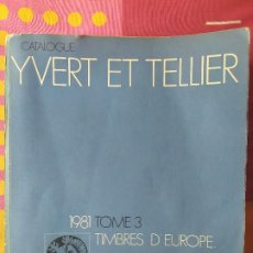 Timbres: A DE LOTES VENDIDOS CATALOGUE YVERT ET TELLIER 1981 TOME 3 (864PÁG). Lote 198285890