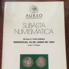 Sellos: CATALOGO SUBASTAS AUREO 1993 NUMISMATICA MONEDAS. Lote 201329267
