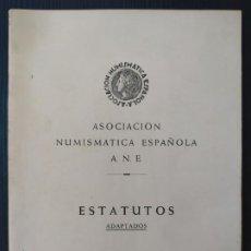 Sellos: ASOCIACIÓN NUMISMATICA ESPAÑOLA. ESTATUTOS (ADAPTADOS) LAURIA. Lote 205543732