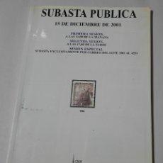 Sellos: SUBASTA PUBLICA. 15 DE DICIEMBRE DE 2001. Lote 210182946