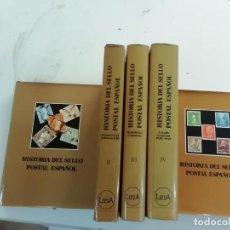Sellos: HISTORIA DEL SELLO POSTAL ESPAÑOL -CINCO TOMOS- MONTALBÁN CUEVAS - FILATELIA - EDAF EDITORES -(M12). Lote 220931025